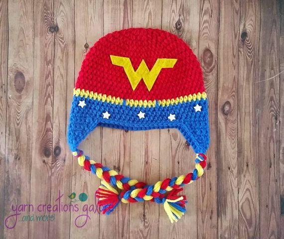 Crochet Wonder Woman HatMade to order by YarnCreationsGalore