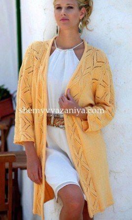 Длинный жакет кимоно с ажурным узором спицами. Обсуждение на LiveInternet - Российский Сервис Онлайн-Дневников