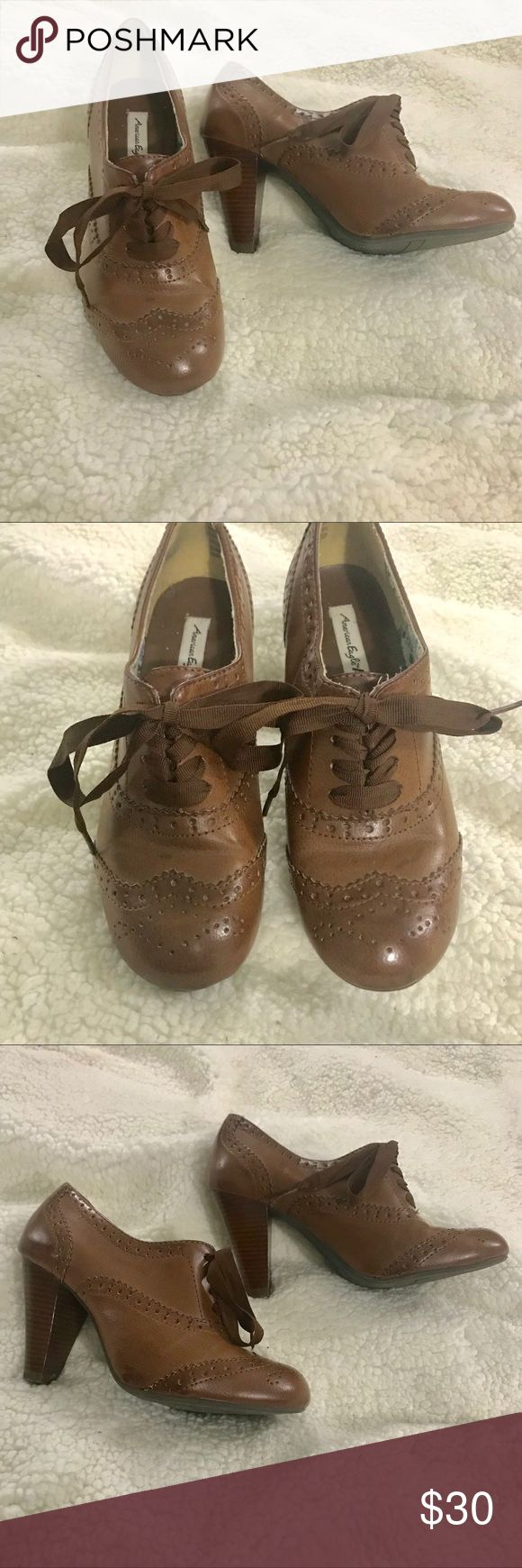 💥SALE💥Heeled oxfords Worn once for a couple hours. Brown Oxford shoes with a midi heel and a ribbon to tie it all off. Perfect for your pinup look, office outfit, or everyday. American Eagle Outfitters Shoes Ankle Boots & Booties