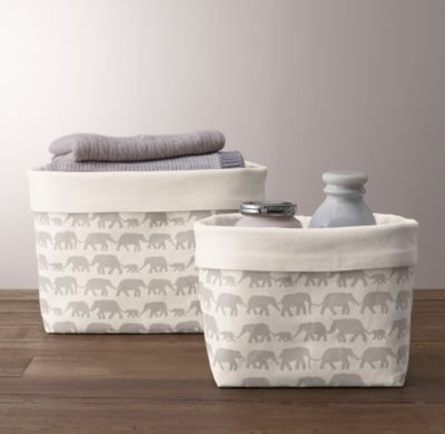 Restoration Hardware - Nursery Canvas Storage - Grey Elephant.