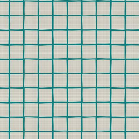 Teal Grid Linen Towel fabric by mrshervi on Spoonflower - custom fabric