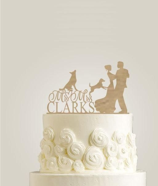 Rustic Cake Topper With Two Canine, Mr and Mrs Cake Topper, Shabby Chic Cake Topper, Wedding Cake Topper With Dog - http://wedding-cake-topper.com/rustic-cake-topper-with-two-canine-mr-and-mrs-cake-topper-shabby-chic-cake-topper-wedding-cake-topper-with-dog/