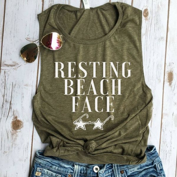 Resting Beach Face Muscle Tank Bachelorette Tank Funny Tank Beaches Be... ($22) ❤ liked on Polyvore featuring tops, grey, tanks, women's clothing, cotton shirts, layering tank tops, muscle tank, drapey tank and muscle tshirt