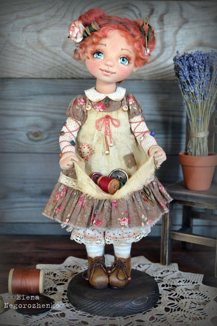 Beautiful textile doll by Elena Negorozhenko - Fairy Bottons
