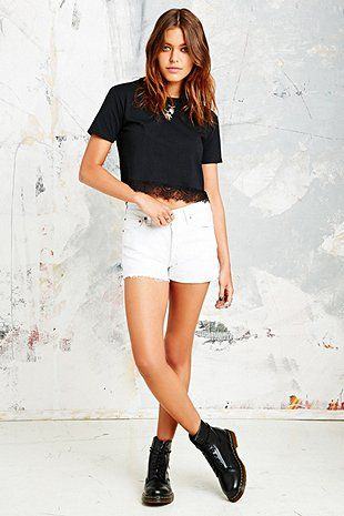 Vintage Renewal Lace Trim Tee in Black - Urban Outfitters
