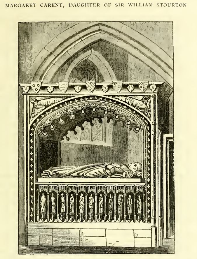 An engraving of the alter tomb at the Church of St. Nicholas, Henstridge, Somerset, England of William Carent and Margaret Stourton (1463), including a better view of the arms of Stourton on the top of tomb).