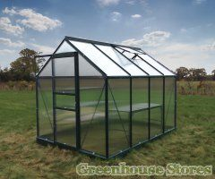 Grow Master 8x6 Green Greenhouse with 4mm twin wall polycarbonate glazing and galvanised steel base. £330  http://www.greenhousestores.co.uk/Grow-Master-8x6-Green-Greenhouse.htm