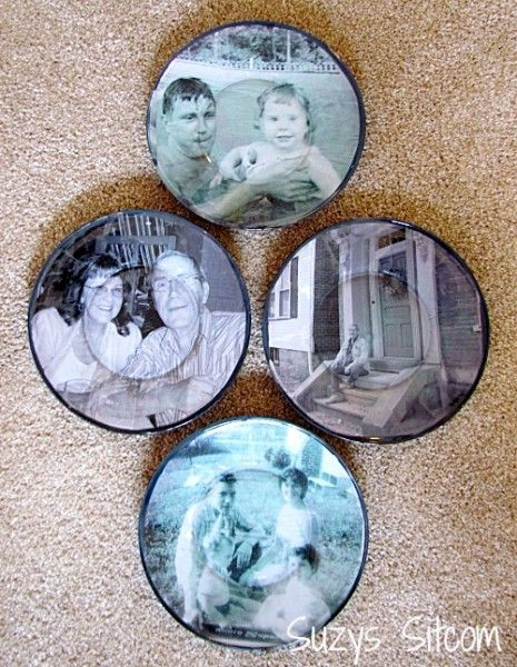 Great idea for Mothers Day or Father's Day! Decoupaged photos on plates!