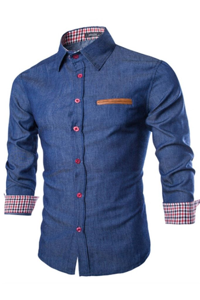 Navy Long Sleeve Denim Shirt. Free 3-7 days expedited shipping to U.S. Free first class word wide shipping. Customer service: help@moooh.net