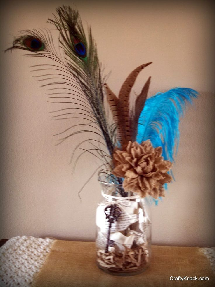 "The Crafty Knack: Feathered Centerpieces for the new MOPS theme, ""Be You, Bravely.""  Would make great table decorations for MOPS or MOMSnext"