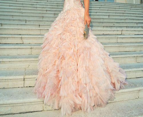 Love: Princesses Dresses, Pink Feathers, Pink Dresses, Pink Weddings Dresses, Soft Pink, Pale Pink, Blushes, Weddings Dresss, Ruffles