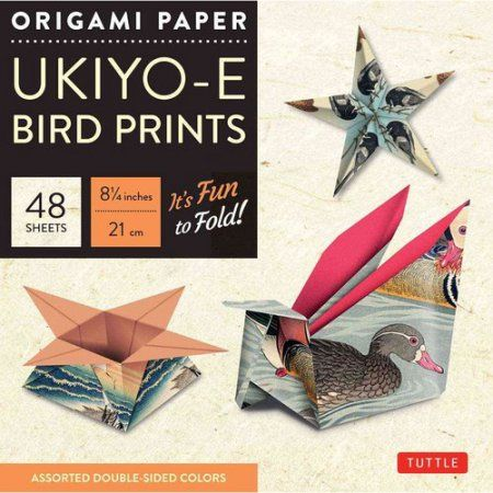 Origami Paper Ukiyo-E Bird Prints, 48 Sheets