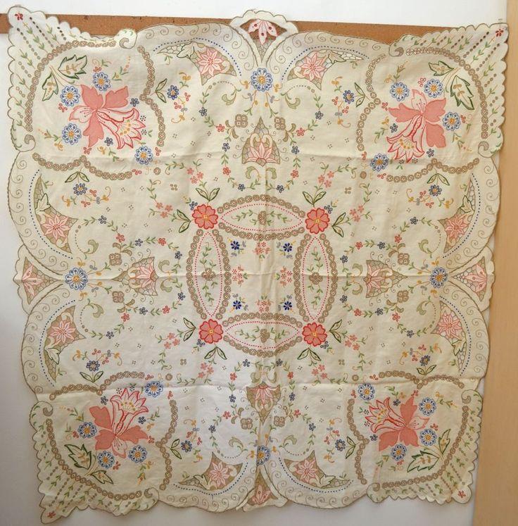 Vintage Art Deco Hand Embroidered U0026 Openwork Tablecloth U0026 6 Napkins Rr943