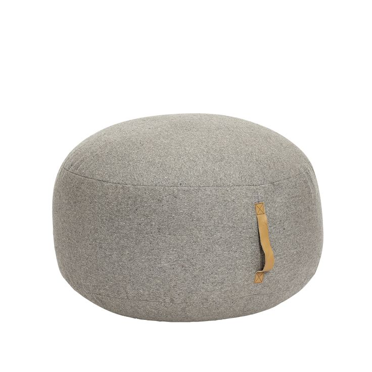 Light grey wool pouf with leather strap. Product number: 709005 - Designed by Hübsch