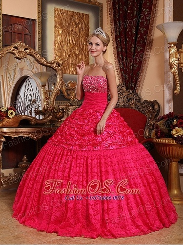 Luxurious Red Roling Flowers  Quinceanera Dress fashionos.com  dama dress for…