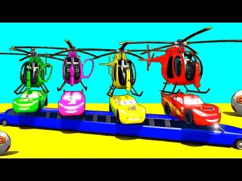 FUN COLOR CARS HELICOPTER & Spiderman Cartoon with Superheroes for kids and babies! - YouTube