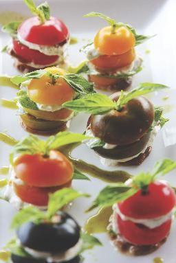 Heirloom tomatoes with basil mozzarella, balsamic, fig & fresh basil ...