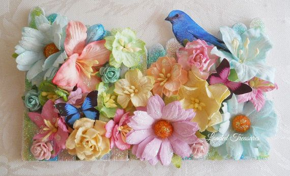 Picket Fence Decorative with Bluebird by LoadedTreasures on Etsy