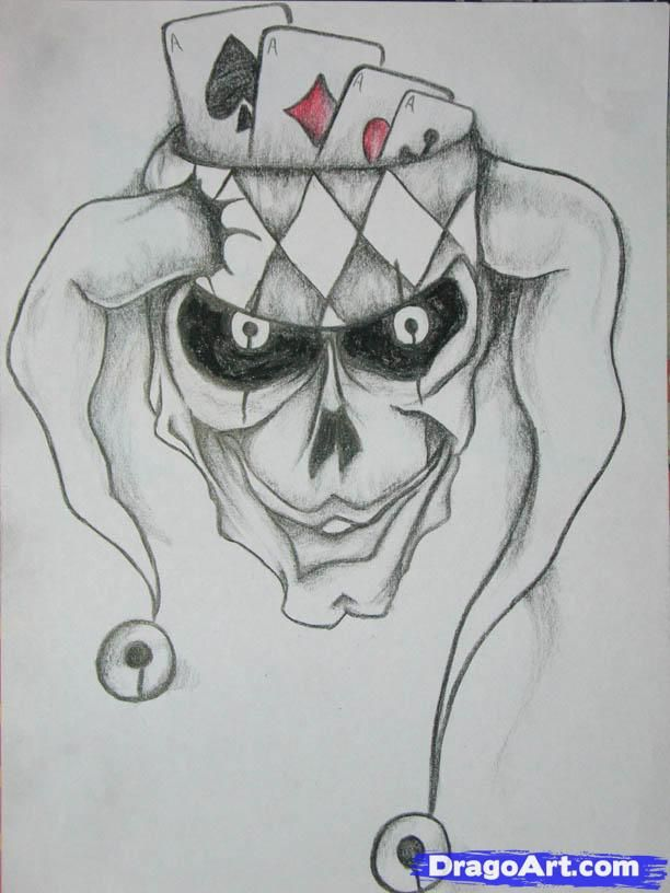 How to Draw a Joker Skull, Step by Step, Skulls, Pop Culture, FREE Online Drawing Tutorial, Added by AnArmA, June 11, 2010, 12:14:32 am