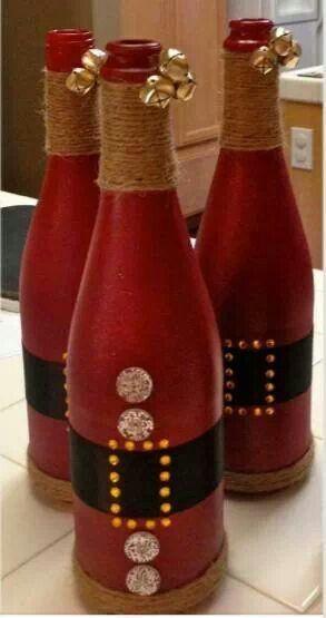 Santa wine bottles