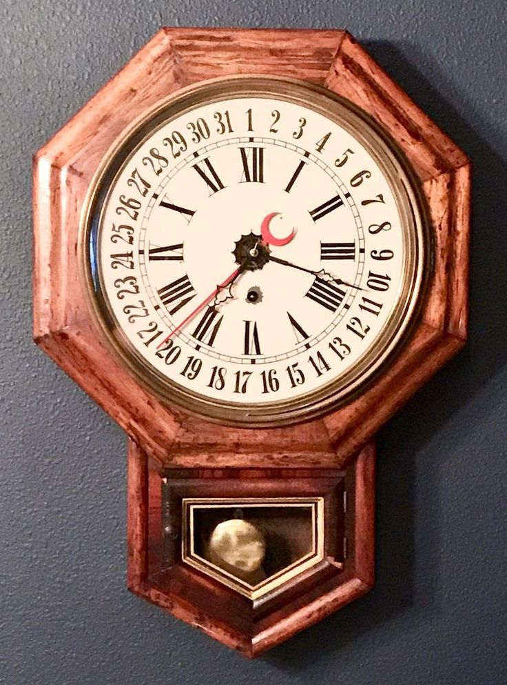old antique welch 8 day calendar date octagon regulator on wall clocks id=41969