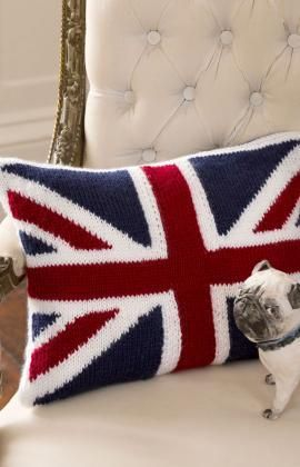Union Jack Pillow Free Knitting Pattern from Red Heart Yarns
