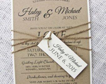 Rustic beach wedding invitation by Creationery on Etsy