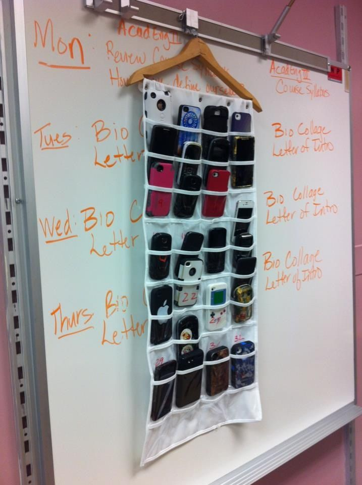 Cell phone pockets in class. Put them in at beginning, take them with when class is over.
