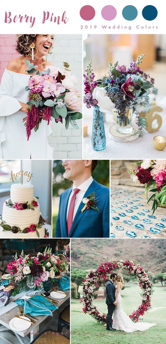 Berry pink and blue spring wedding color ideas, DIY wedding decors