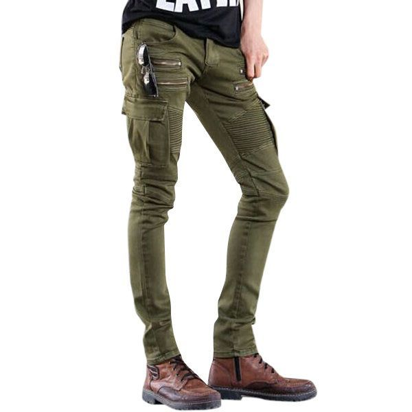 Fashion  Motorcycle Army Green Mid Waist High Elastic Slim Fit Jeans for Men