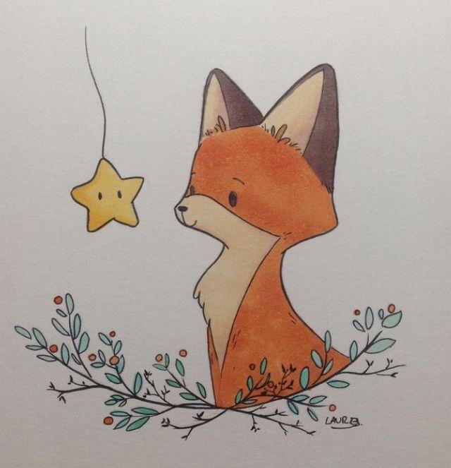 Милые картинки лисичка для срисовки