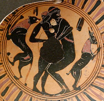 Young man and teenager engaging in intercrural sex, fragment of a black-figure Attic cup, 550 BC–525 BC, Louvre