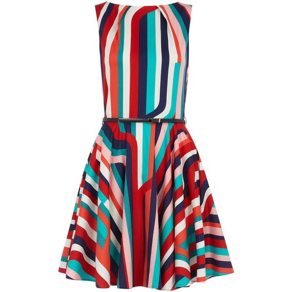 Multi stripe flare belt dress ❤ liked on Polyvore
