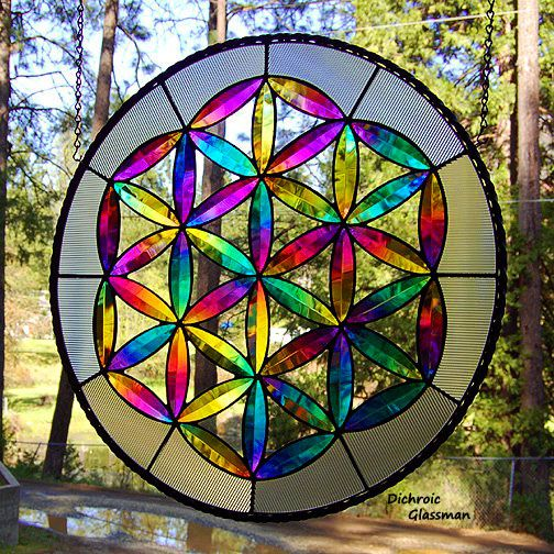 Dichroic stained glass panel from Dichroic Glassman