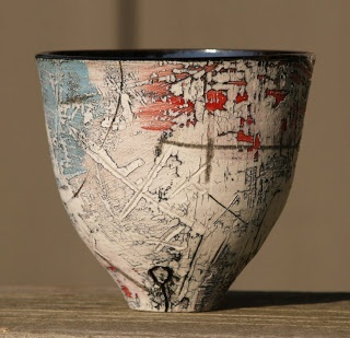 """Lesley McInally Ceramic Art uses printmaking techniques onto clay.  Makes marks, uses  ceramic pigments and hand coloring on porcelain engobes, """"building up layer upon layer and constantly reworking the surface over periods of time thus creating a history of events."""""""