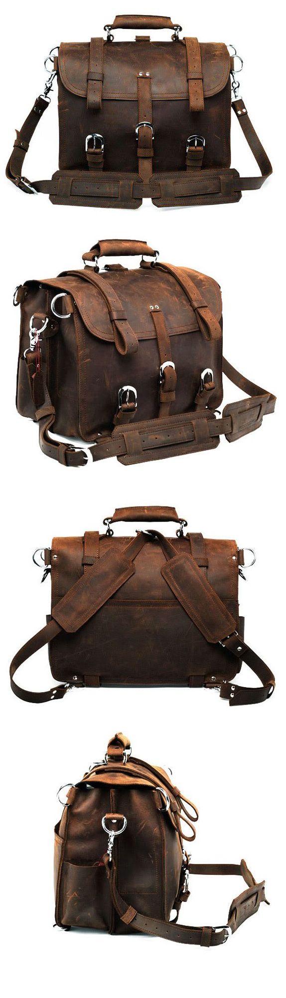 WOW Arrogance Vintage Classic Crazy Horse Leather Briefcase Handbag/Backpack/Travel Bag/Laptop Bag/Travel Duffle Bag