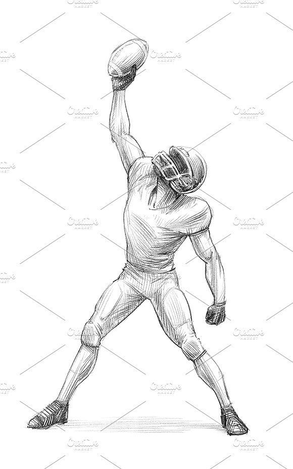 American Football Illustration Set Jpeg Drawings Players Sizes