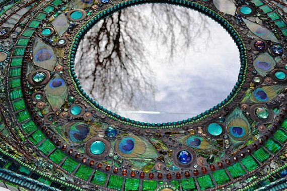 SOLD  Mosaic peacock mirror  mosaic art Real by NikkiEllaWhitlock