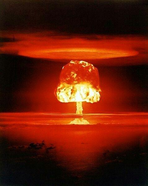 Soviet test of Tsar Bomba during cold war. The largest reported nuclear weapon ever tested