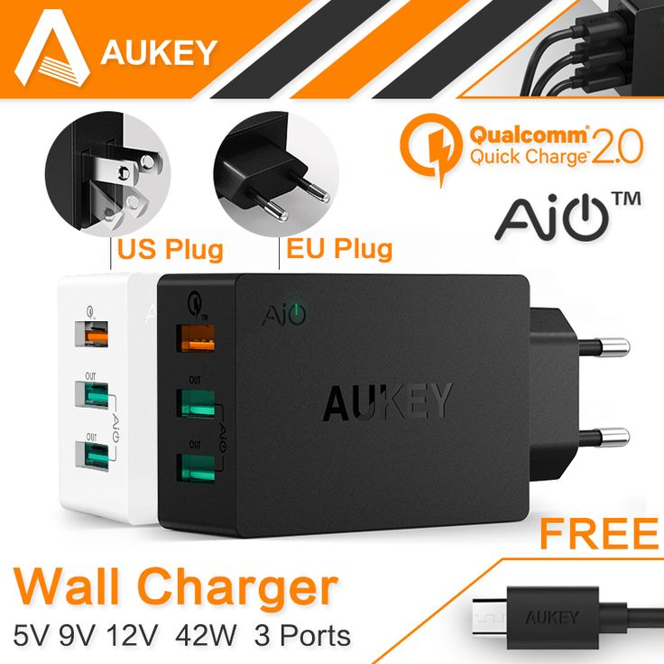 AUKEY Quick Charge 2.0 USB Wall Charger 3 Port Smart Fast Turbo Mobile Charger For iPhone7 Samsung Galaxy s6 Edge Xiaomi EU/US *** Be sure to check out this awesome product.
