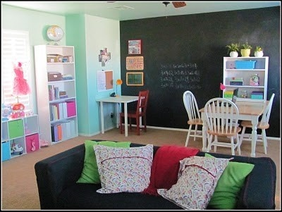 Great Homeschool Room Ideas Couch Chalk Wall