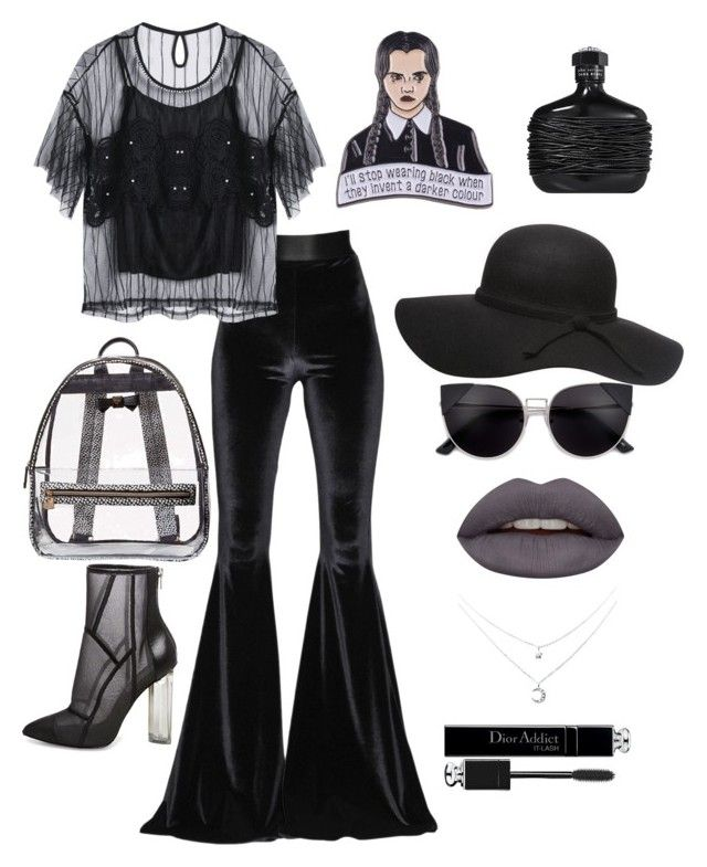 """Black widow"" by elshakalaka on Polyvore featuring Faith Connexion, Betsey Johnson, Huda Beauty, John Varvatos, Steve Madden and Christian Dior"