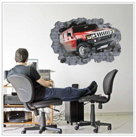 modern wall decals - YYone A SUV Knock Into Wall Easy Fast decor Mural Wall Sticker for Mens Room Decor -