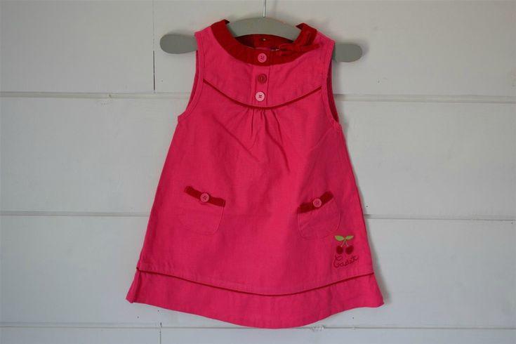 Robe en lin rose fuchsia, broderie cerises Cadet Rousselle - 12M