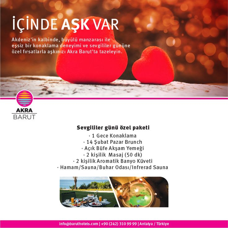 Mükemmel geçecek bir Sevgililer Günü sizi Akra Barut'ta bekliyor! Detaylar ve rezervasyonunuz için;0242-3109999 A perfect romantic Valentine's Day is waiting for you at Akra Barut! Please contact us for further information 0242-3109999 ‪#‎followthesun‬ ‪#‎timelessquality‬ ‪#‎baruthotels‬ ‪#‎AkraBarut‬