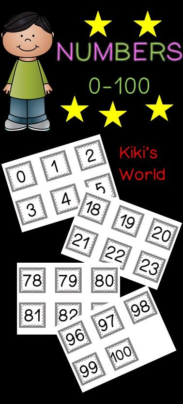 Number cards 0-100 to use for guided Maths, centers etc.
