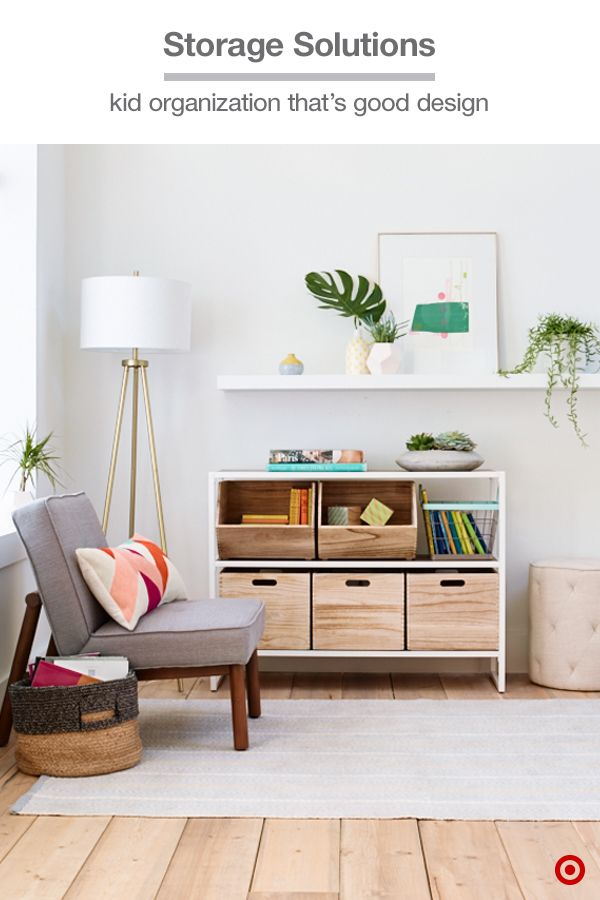 Pillowfort has storage solutions that are worth showing off—wooden crates fit into any shelf, plus the open bins and wire designs are both stackable. They're a clean and modern option for keeping toys and games organized in a family room or space the whole family shares.