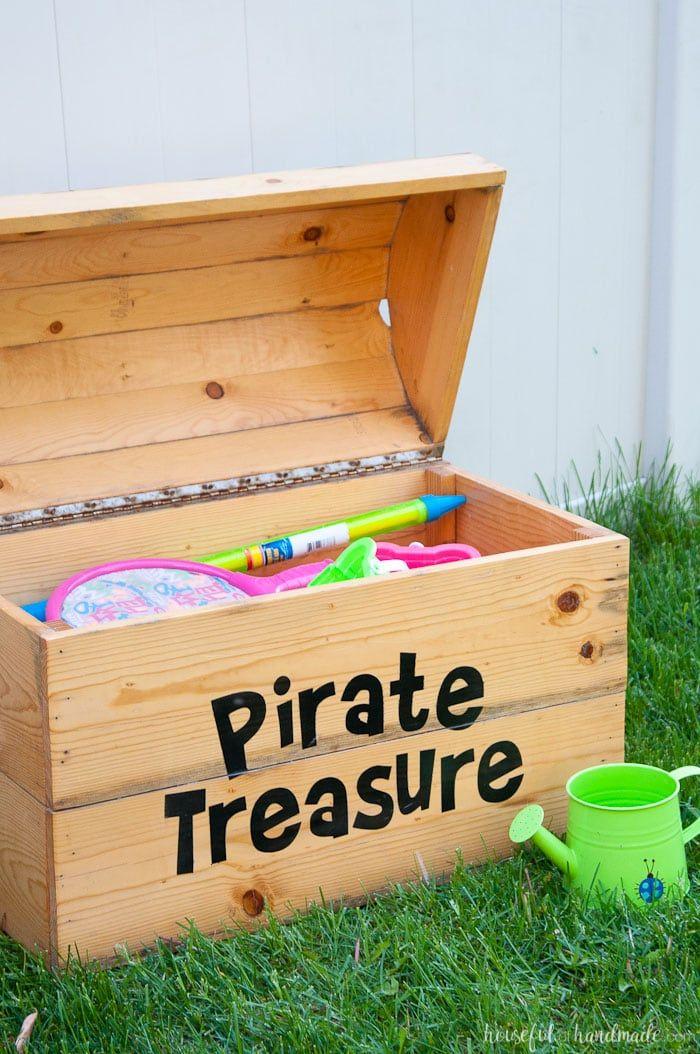 Diy Treasure Chest Toy Box In 2020 Diy Toy Storage Toy Storage Diy Outdoor Toys