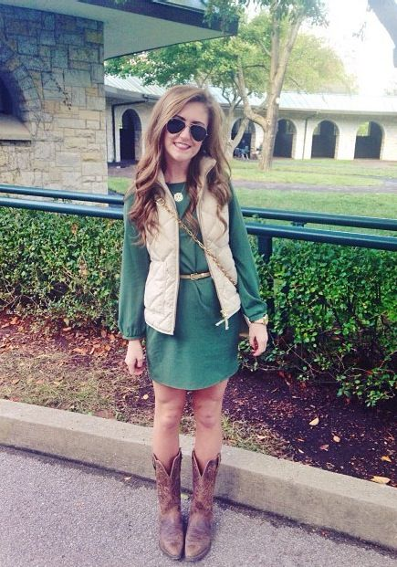 Love this dress/boots/vest combo!