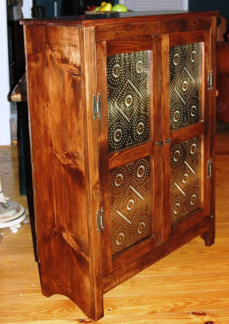 Hand Made Solid Reclaimed Pine Primitive Style Pie Safe With Antique Brass  Punched Panels